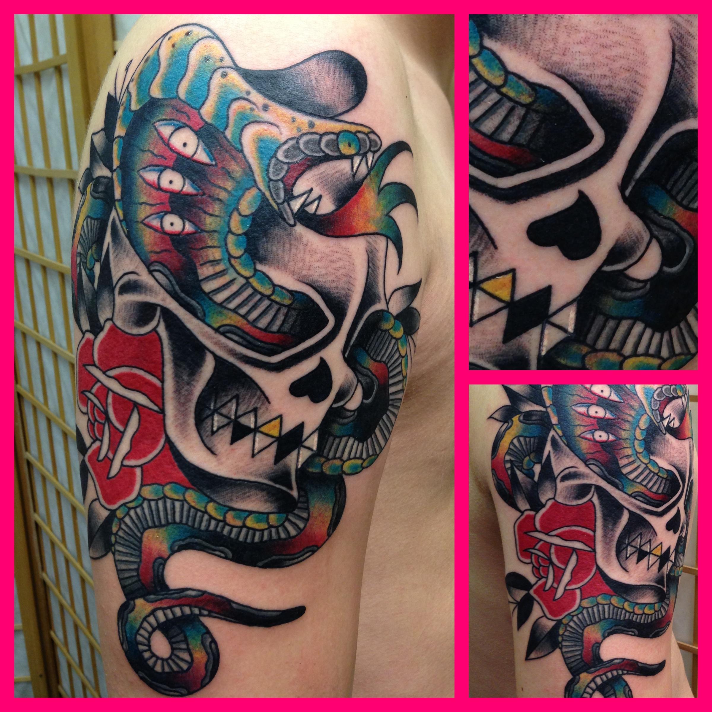 Acid Cobra with Skull | foulds tattoo Cobra Skeleton Tattoo