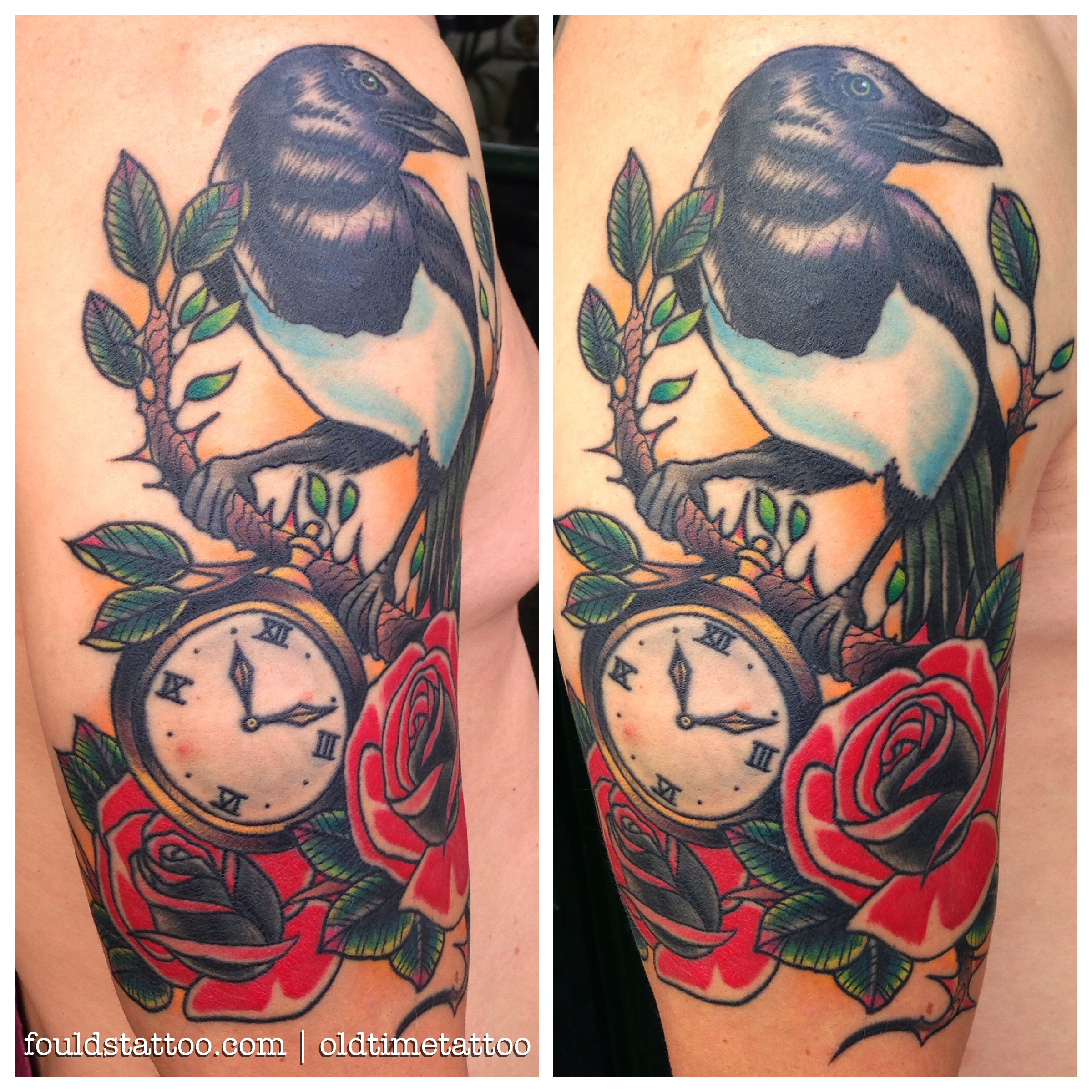 Traditional magpie tattoo - photo#17
