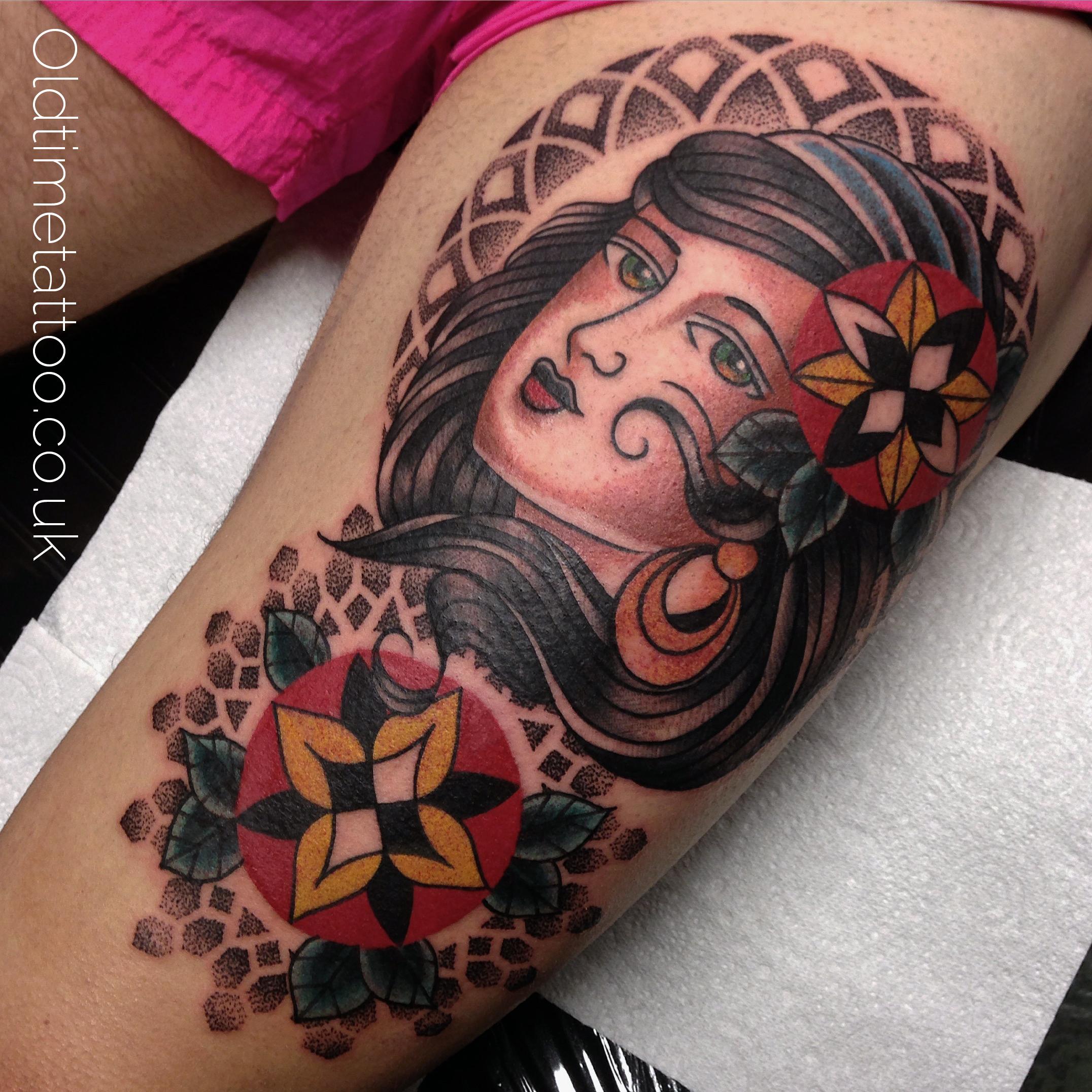 ... girl girls head gypsy josh foulds mandala old school old time tattoo